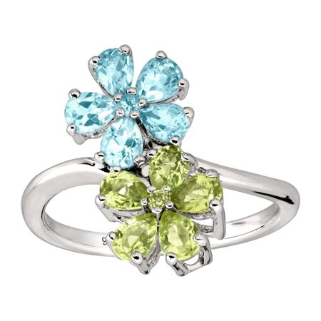 2 ct Swiss Blue Topaz & Peridot Flower Ring
