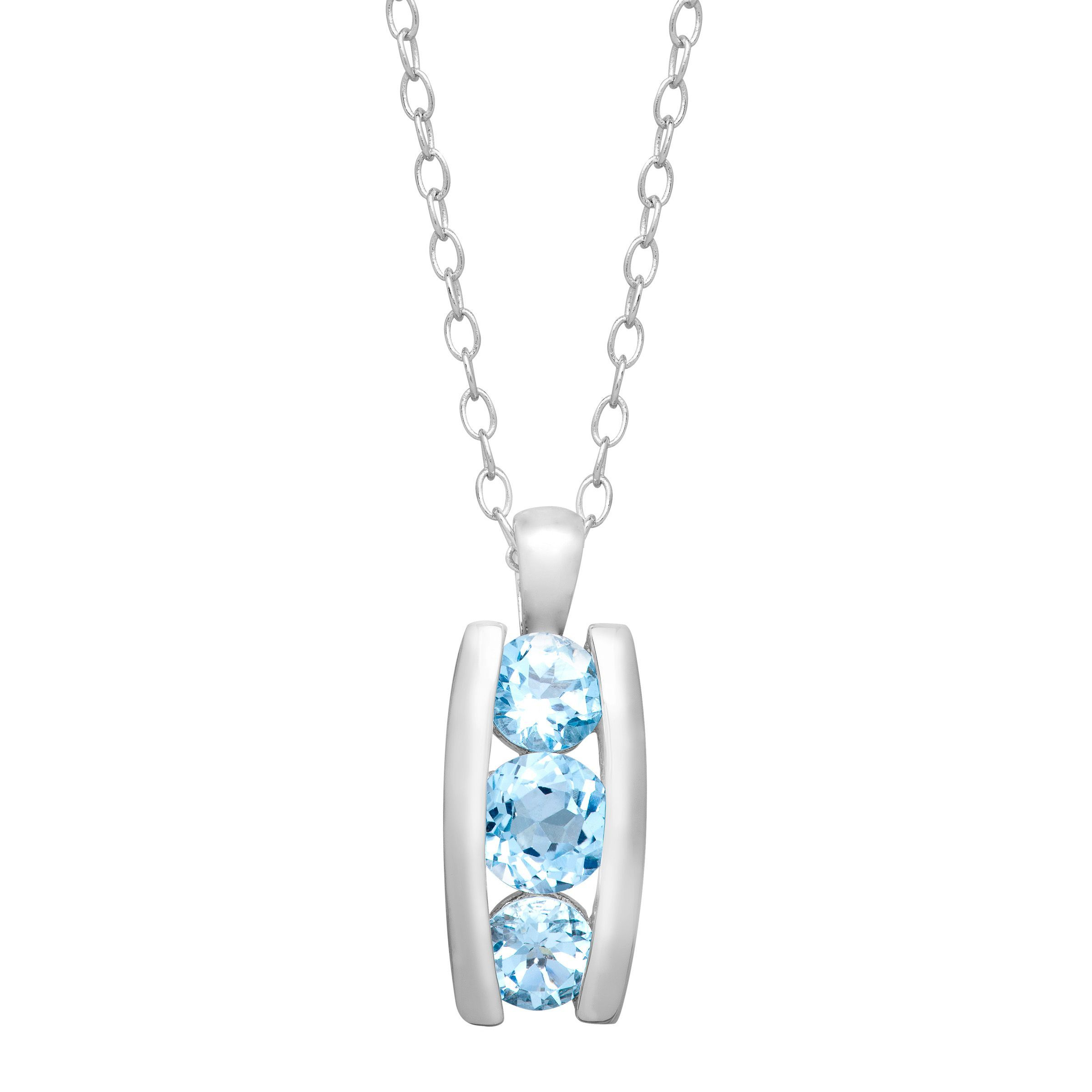 topaz blue product necklace gold pendant