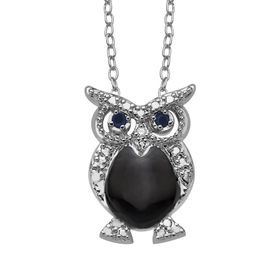 Owl Pendant with Sapphires