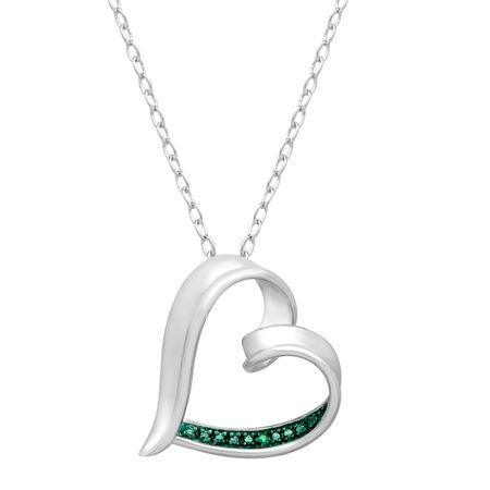 Heart Pendant with Green Diamond