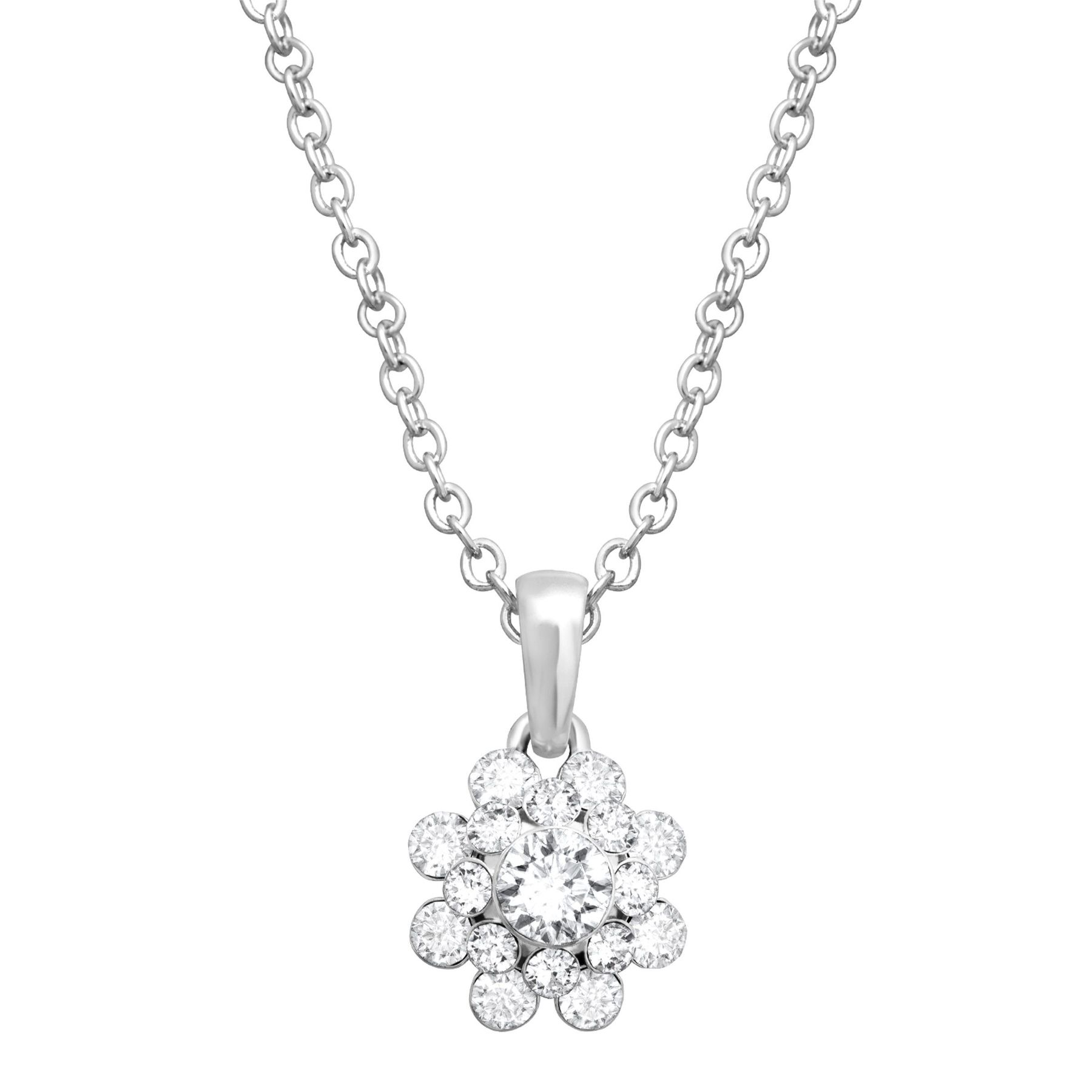 Crystaluxe flower pendant with swarovski crystals in sterling flower pendant with swarovski crystals mozeypictures Image collections