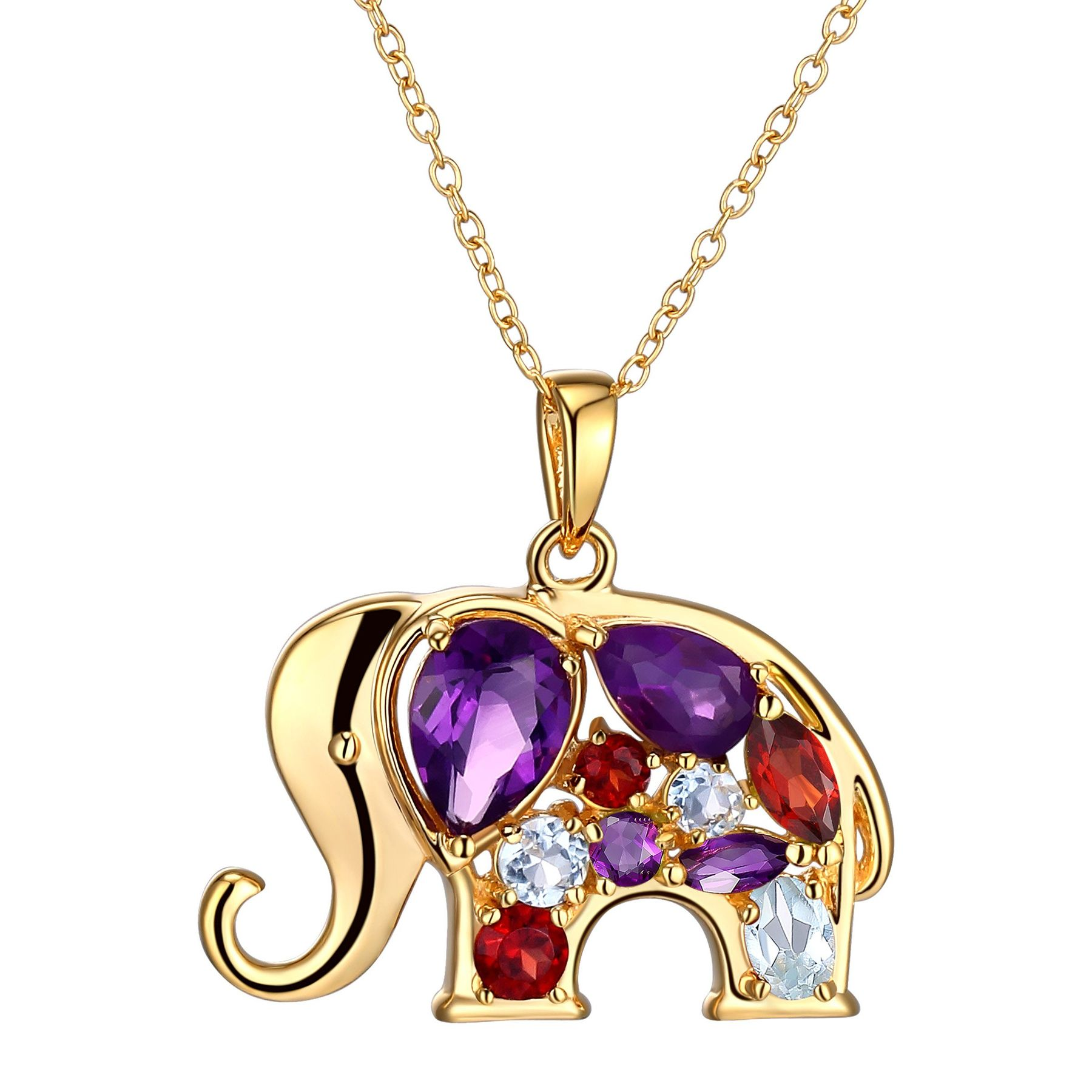 necklace silver pendant dp elephant gold sterling and amazon rose com diamond