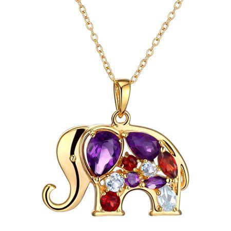 1 12 ct natural amethyst garnet topaz elephant pendant with 1 12 ct amethyst garnet topaz elephant pendant aloadofball Gallery