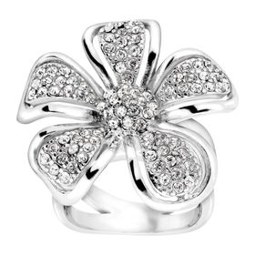 Flower Ring with Czech Crystals