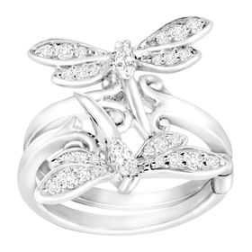 Dragonfly Swing Ring with Cubic Zirconia