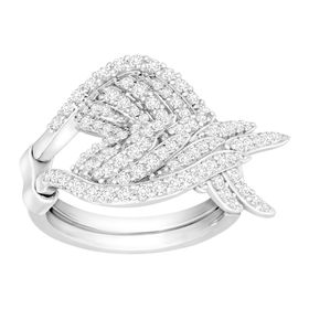 Angel Wings Swing Ring with Cubic Zirconia