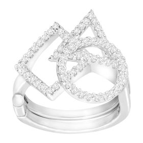 Geometric Shapes Swing Ring with Cubic Zirconia