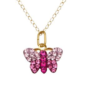 Girl's Butterfly Pendant with Swarovski Crystals