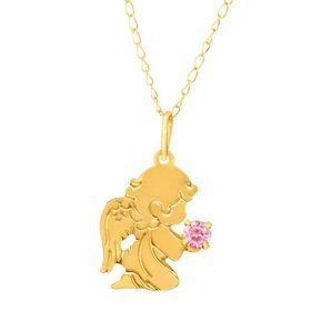 Girl's Guardian Angel Pendant with Pink Cubic Zirconia