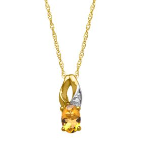 3/8 ct Citrine Pendant with Diamond