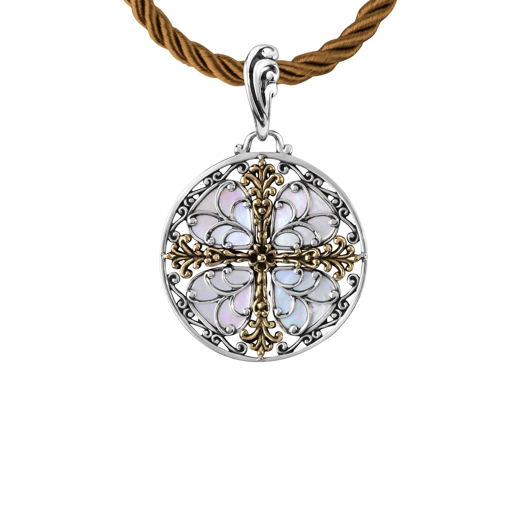 Carolyn pollack filigree cross pendant with brass in sterling silver filigree cross pendant aloadofball Image collections
