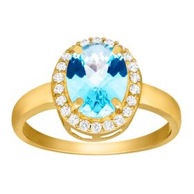 1 3/4 ct Swiss Blue & White Topaz Ring