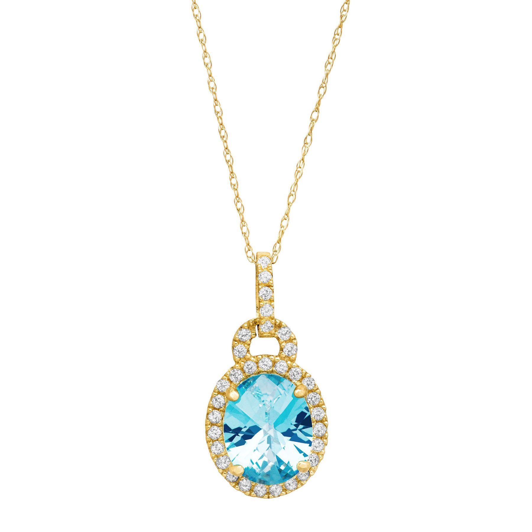 3 34 ct natural swiss blue and white topaz pendant in 10k yellow 3 34 ct swiss blue white topaz pendant aloadofball Choice Image