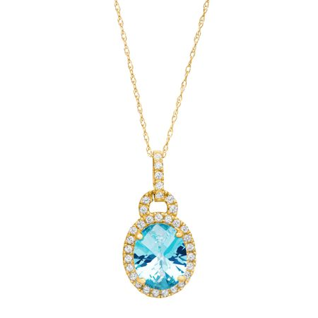 3 34 ct natural swiss blue and white topaz pendant in 10k yellow 3 34 ct swiss blue white topaz pendant aloadofball Gallery