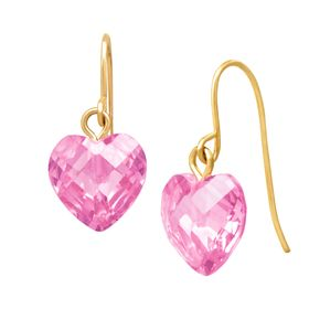 Pink Cubic Zirconia Heart Drop Earrings