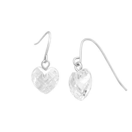 Cubic Zirconia Heart Drop Earrings