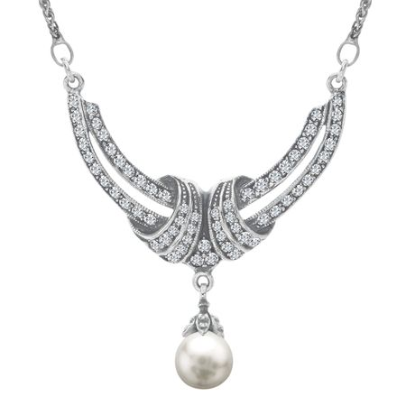 Art Deco Pearl Crescent Necklace