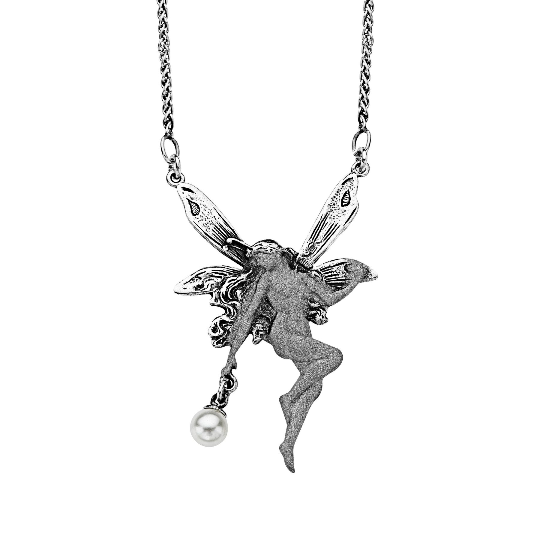 flower and mermaid products pendant with crown necklace fairy wm wings