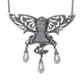 Art Nouveau Pearl Fairy Necklace