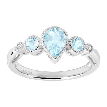 7/8 ct Aquamarine Ring with Diamonds