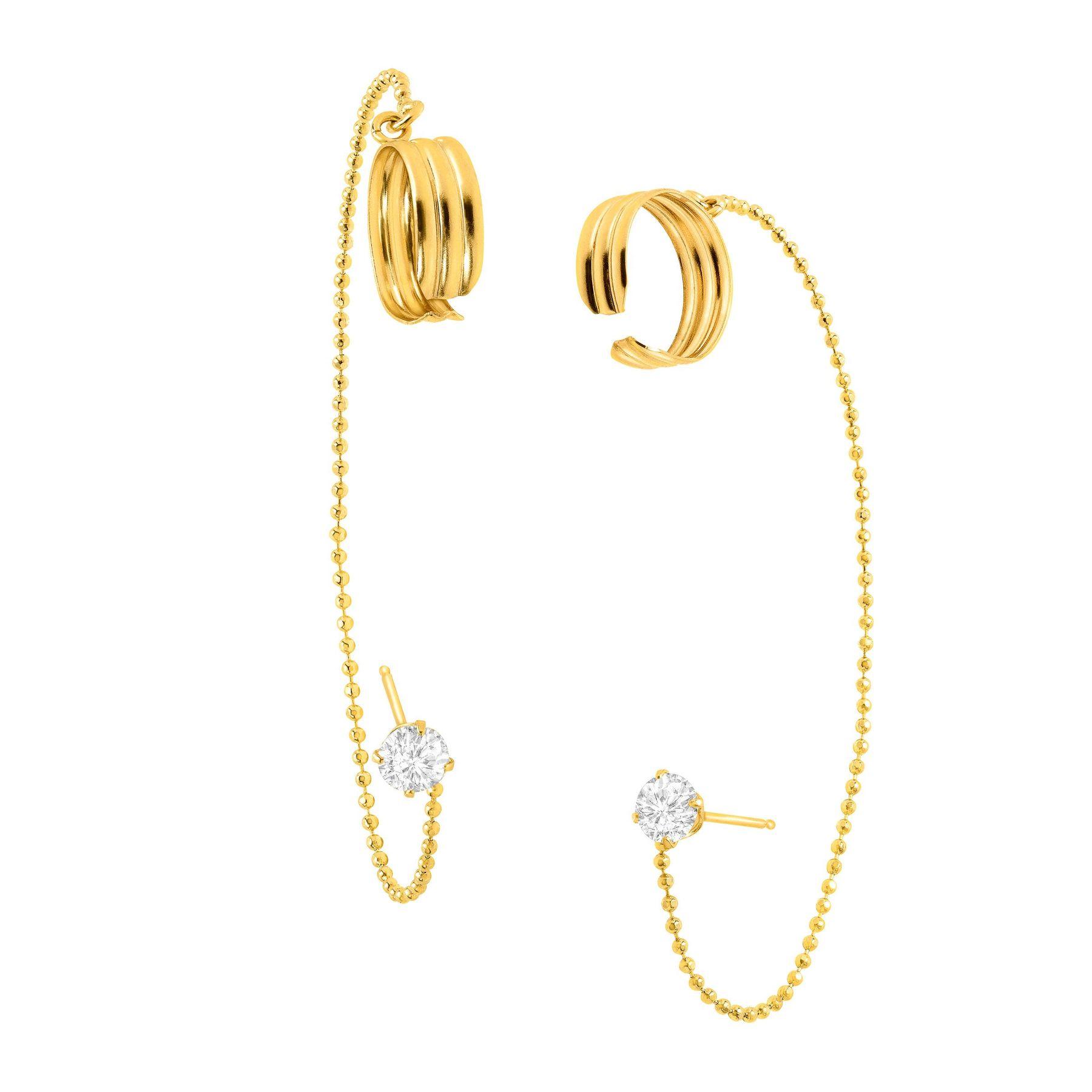 Eternity Gold Cubic Zirconia Cuff Earrings In 10k