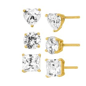Stud Earring Set with White Cubic Zirconia