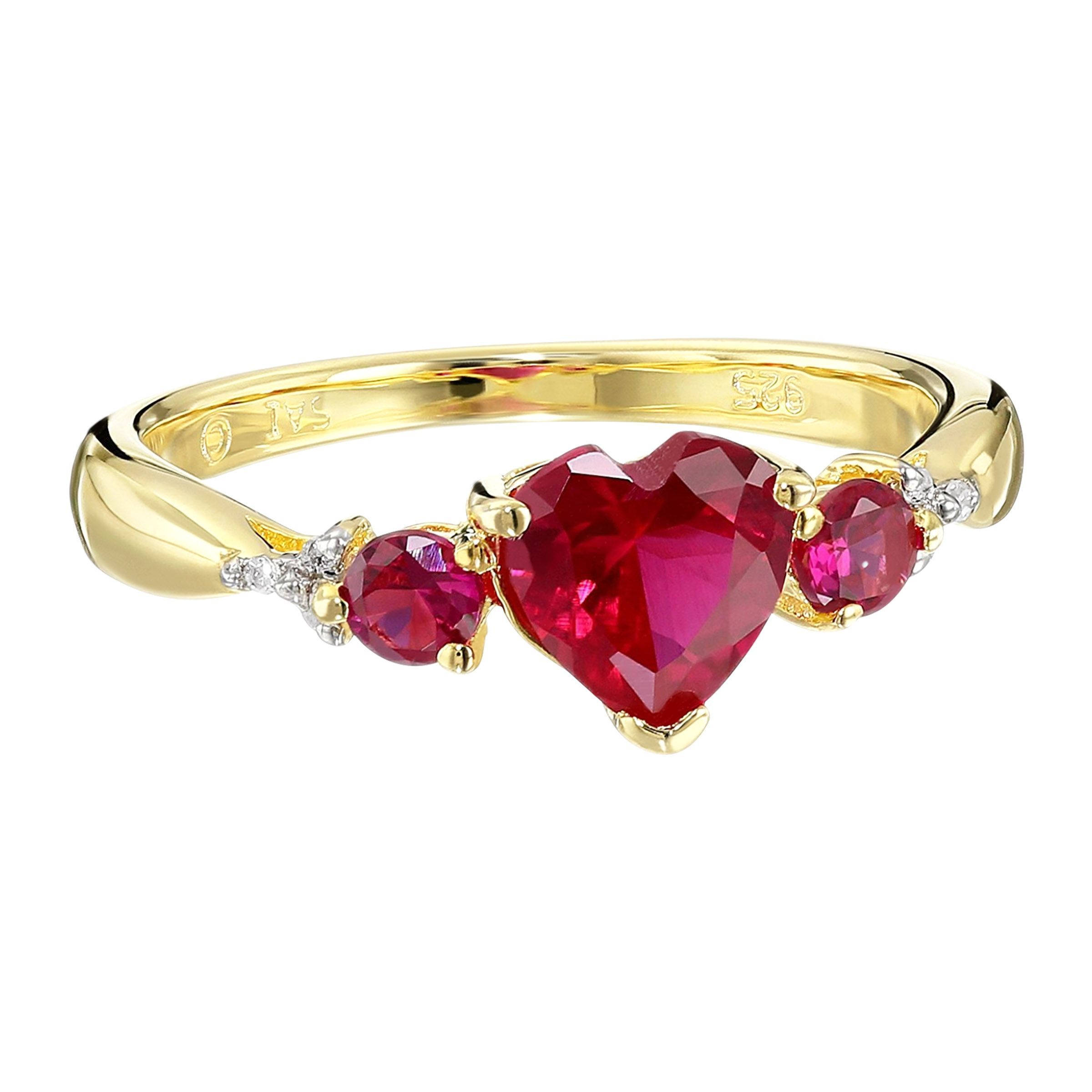 356fda72cfd76 Details about Triple Heart Created Ruby Ring with Diamonds in 14K  Gold-Plated Sterling Silver