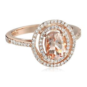 Morganite & 1/3 ct Diamond Double Halo Ring