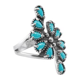 Sleeping Beauty Turquoise Cluster Ring