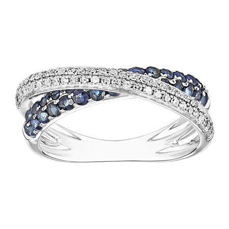 5/8 ct Sapphire & 1/3 ct Diamond Overlapping Band Ring