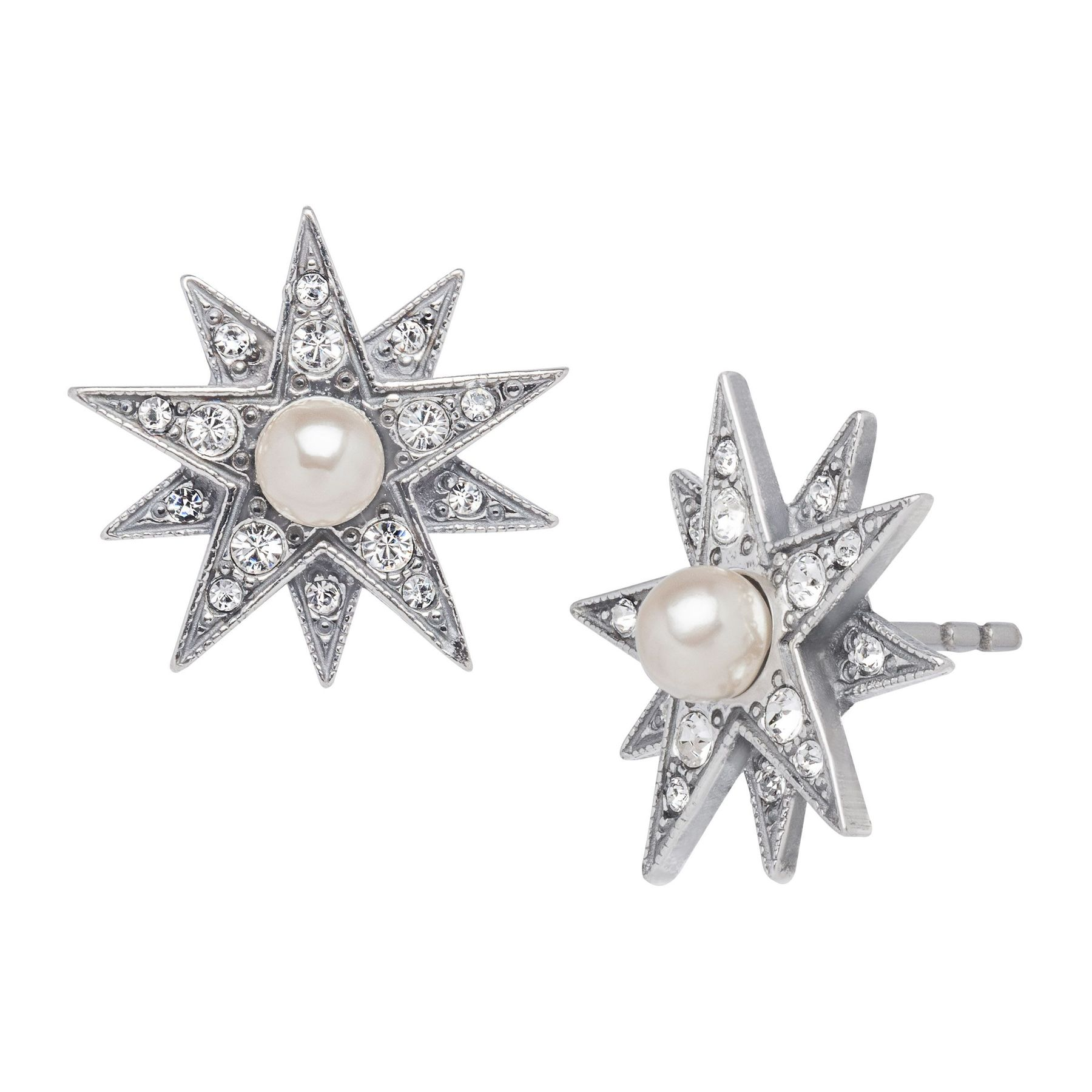 Van Kempen Victorian Simulated Pearl Star Earrings With Swarovski Crystals In Sterling Silver