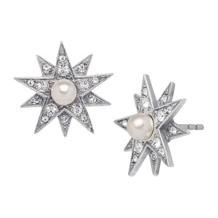 Victorian Pearl Star Earrings with Swarovski Crystals
