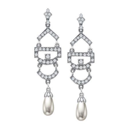 Art Deco Pearl Drop Earrings with Swarovski Crystals