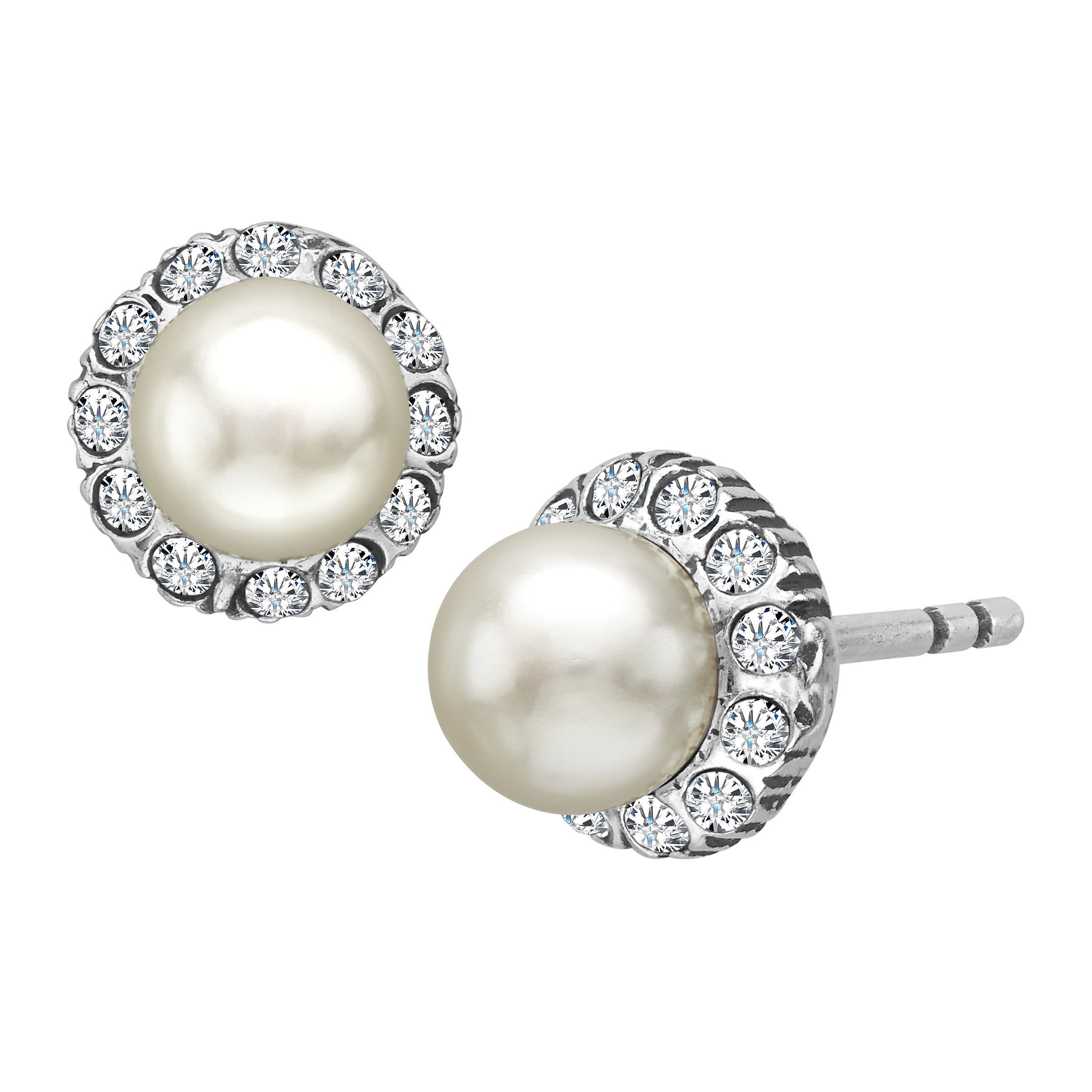 Van Kempen Victorian Simulated Pearl Earrings With Swarovski Crystals In Silver