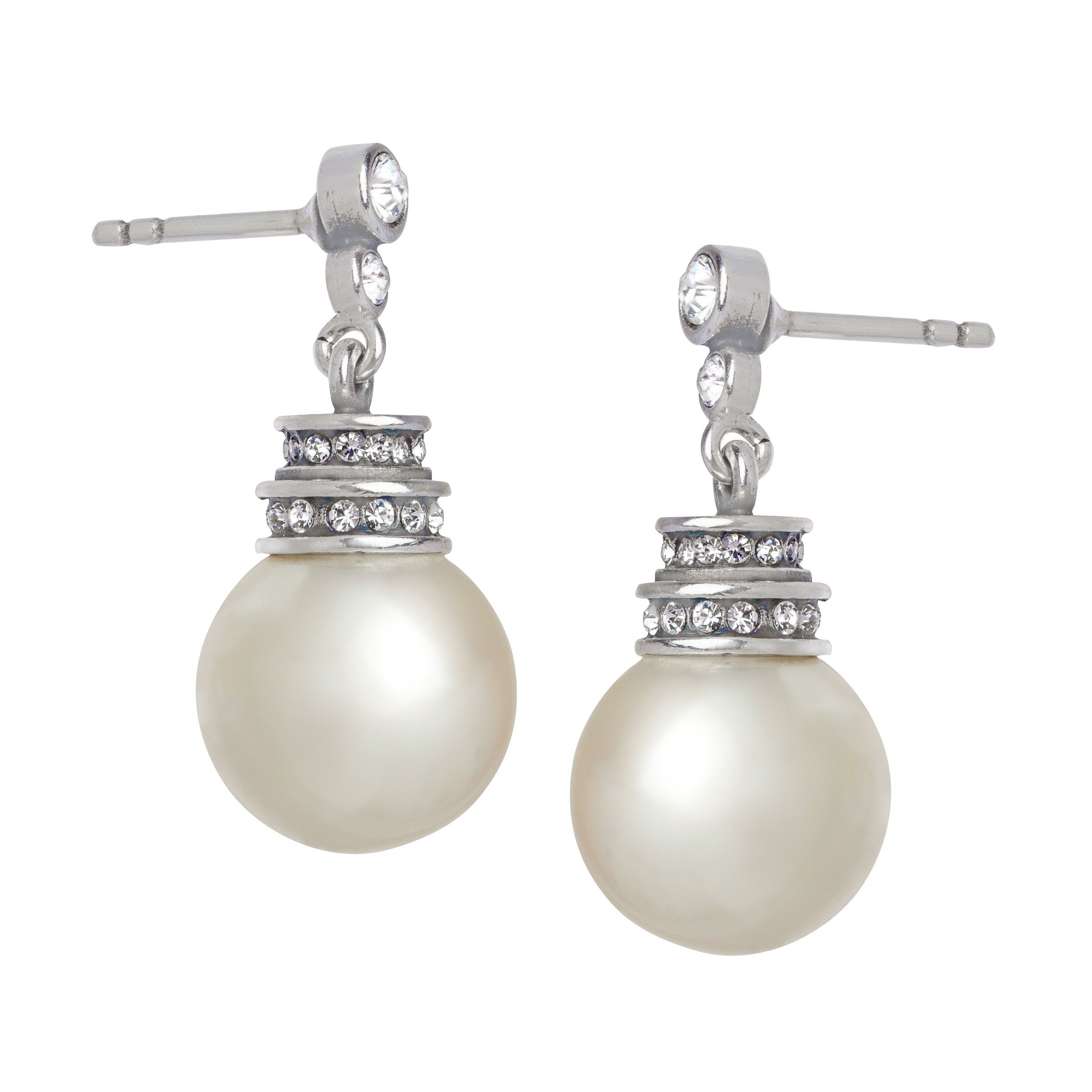 Van Kempen Art Deco Simulated Pearl Earrings With Swarovski Crystals In Silver