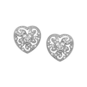 Art Nouveau Heart Earrings with Swarovski Crystals