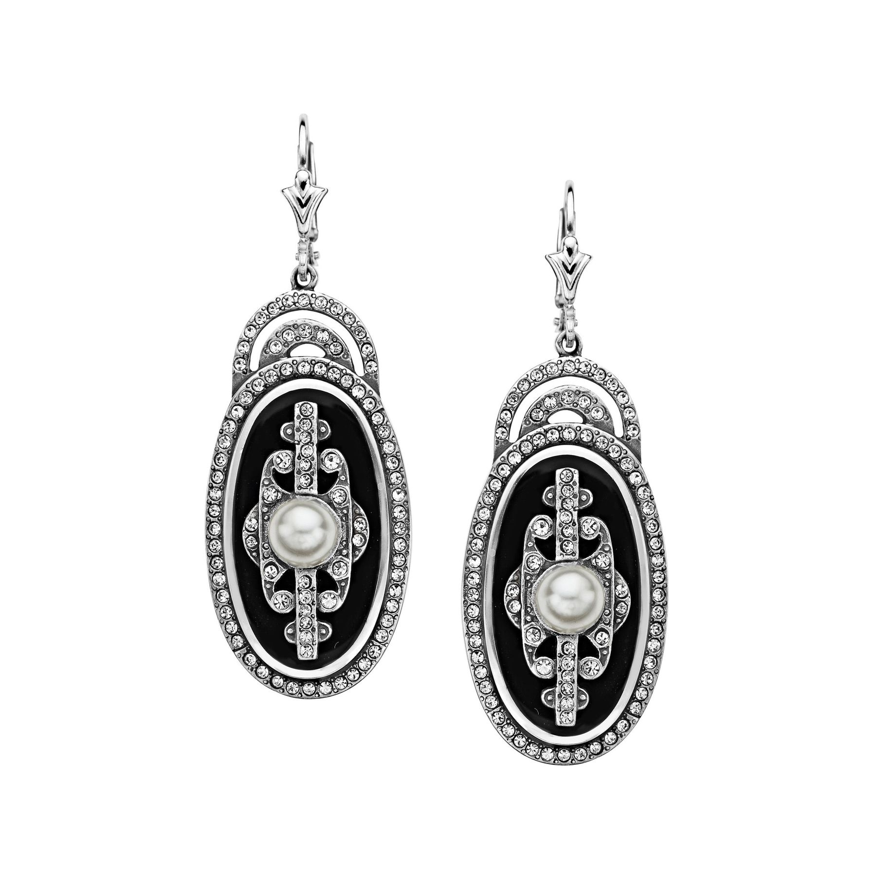 silver earrings with pearls zanfeld black garnet art and deco shop