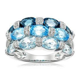 Mixed Blue Topaz Ring with Diamonds