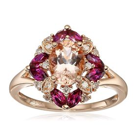 Morganite, Rhodolite, & 1/6 ct Diamond Ring