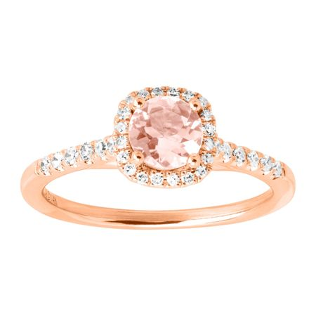 Morganite & 1/5 ct Diamond Halo Ring