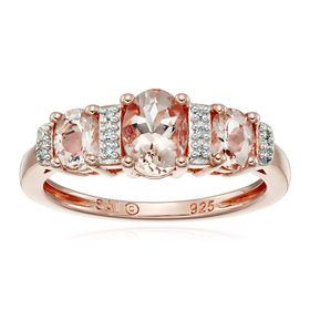 Morganite Three-Stone Ring With Diamonds