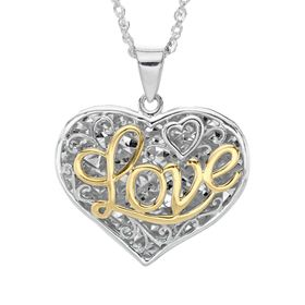 Script 'Love' Filigree Heart Pendant