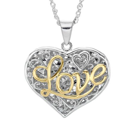 Script love filigree heart pendant in sterling silver 10k gold script love filigree heart pendant aloadofball Gallery