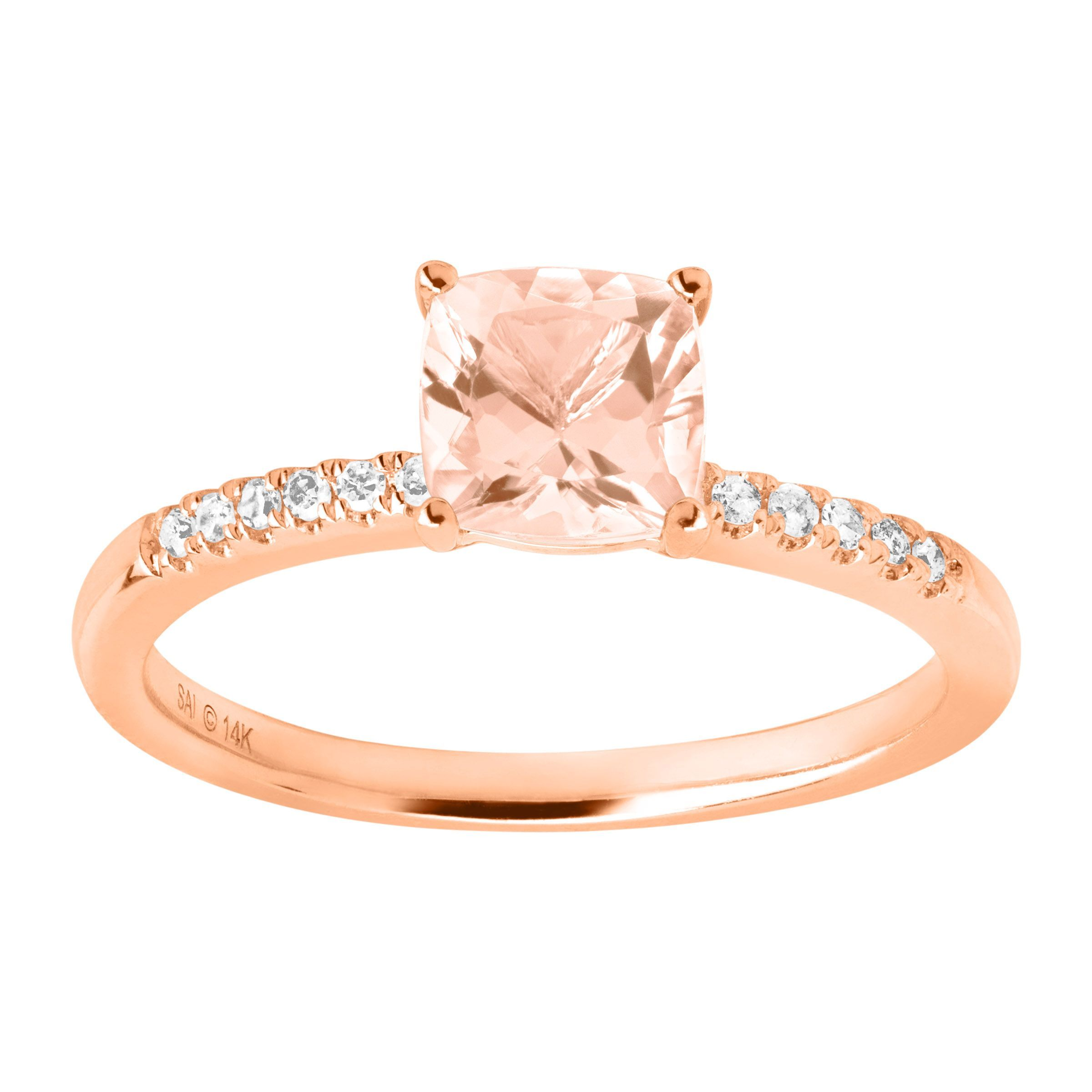 8df62a7207944 Details about 3 4 ct Natural Morganite Ring with Diamonds in 14K Rose Gold