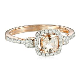 Morganite & 1/5 ct Diamond Cushion Ring