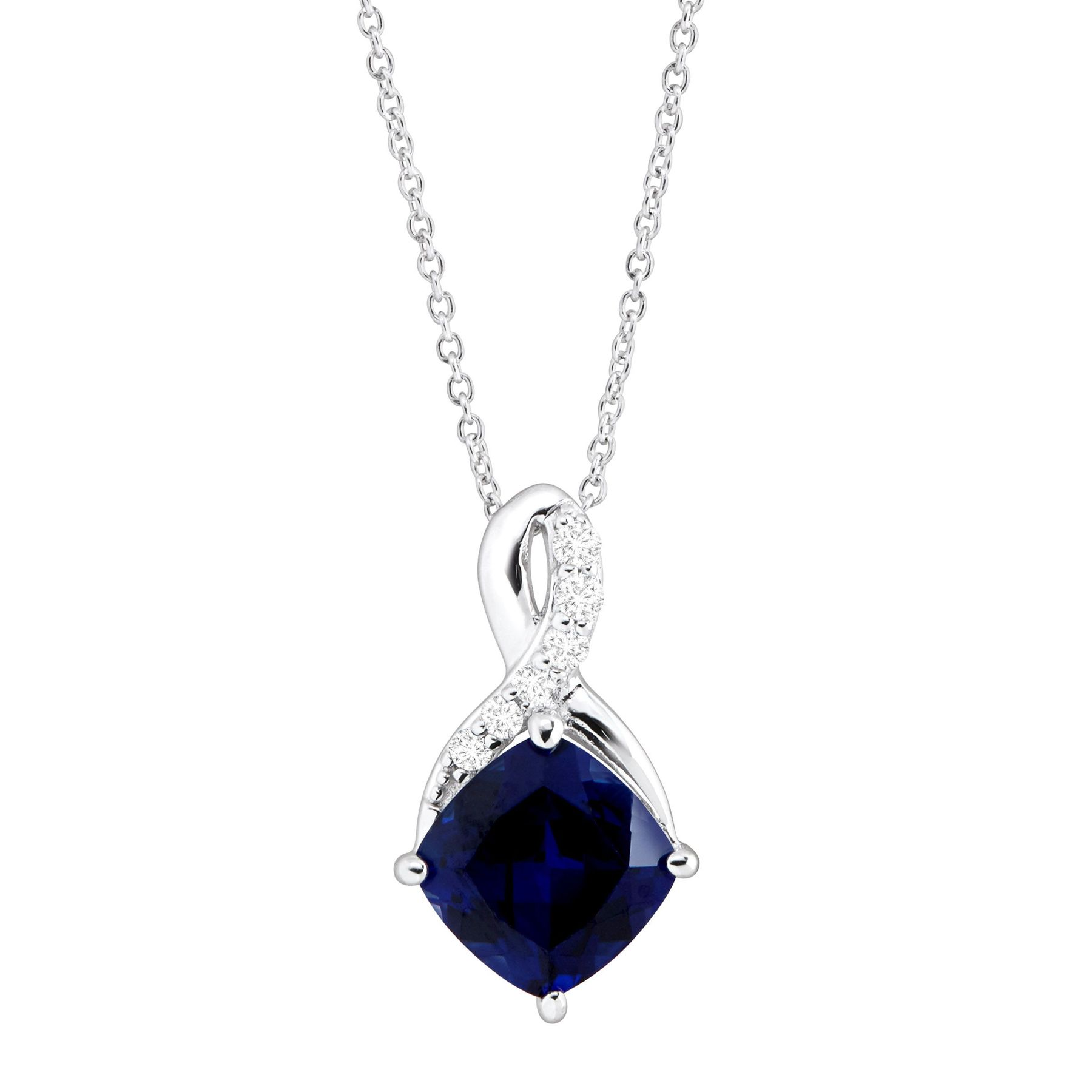 2 5/8 ct Created Sapphire & White Sapphire Pendant