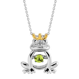 Peridot & White Sapphire Frog Prince Floater Pendant