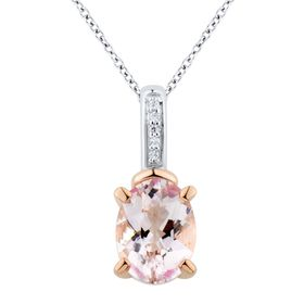 Oval Morganite Pendant with Diamonds