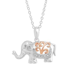 Two-Tone Elephant Pendant with Diamonds