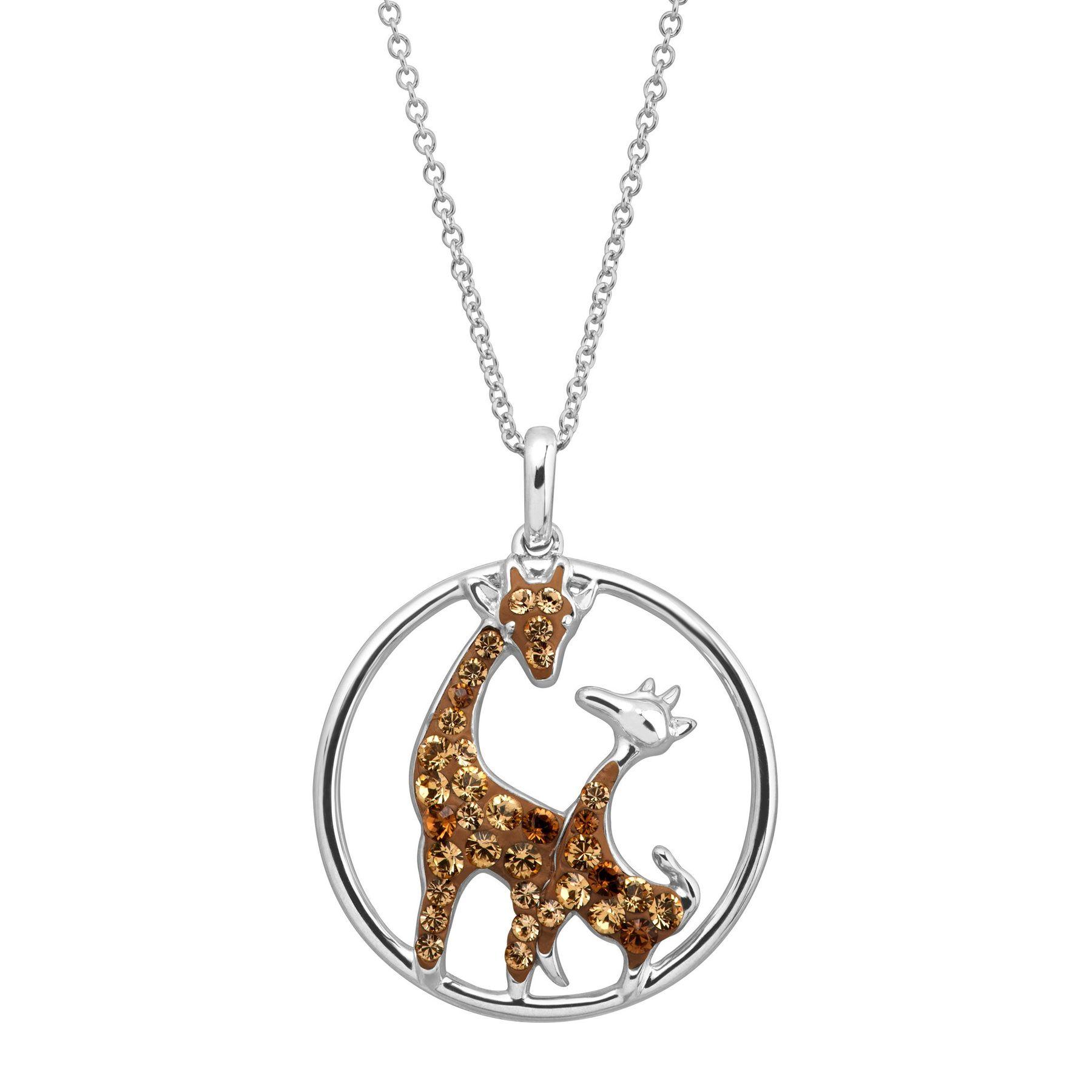 Sterling Silver Open Heart Kissing Giraffes Necklace